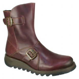 FLY London SETI Womens Purple Leather Boots